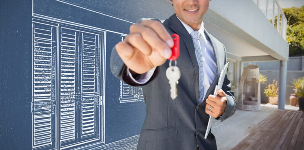 29733846 composite image of confident estate agent standing at front door showing key